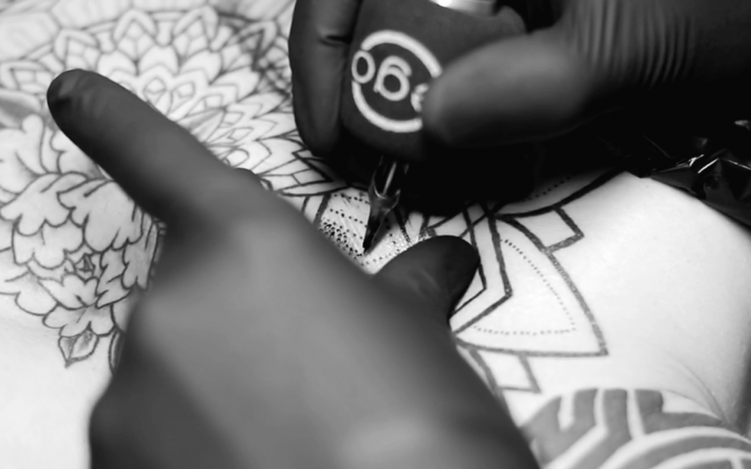 Geometric tattoo timelapse video with mandala and pattern combinations, book your appointment now via our contact page